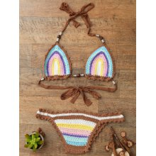 Trendy Halter Knitted Colored Women's Bikini Set