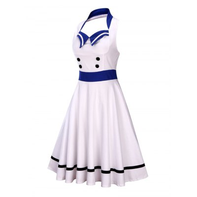 Sleeveless Backless Sailor Collar Pin Up DressSleeveless Dresses<br>Sleeveless Backless Sailor Collar Pin Up Dress<br><br>Dresses Length: Mid-Calf<br>Embellishment: Button<br>Material: Polyester<br>Neckline: Sailor Collar<br>Package Contents: 1 x Dress<br>Pattern Type: Others<br>Season: Summer<br>Silhouette: A-Line<br>Sleeve Length: Sleeveless<br>Style: Novelty<br>Weight: 0.4000kg<br>With Belt: No