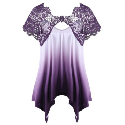 Plus Size Lace Trim Ombre Asymmetric T-ShirtPlus Size Tops<br>Plus Size Lace Trim Ombre Asymmetric T-Shirt<br><br>Collar: V-Neck<br>Material: Polyester, Spandex<br>Package Contents: 1 x T-Shirt<br>Pattern Type: Others<br>Season: Summer<br>Shirt Length: Regular<br>Sleeve Length: Short<br>Style: Casual<br>Weight: 0.3700kg