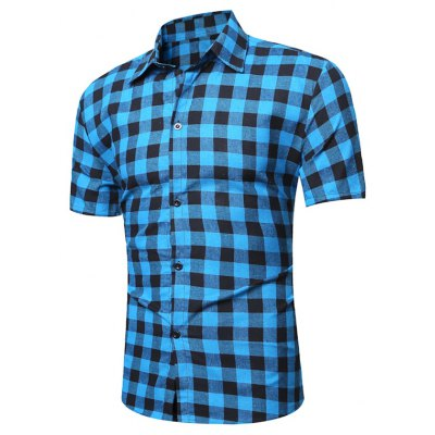 Short Sleeve Checked Linen Shirt