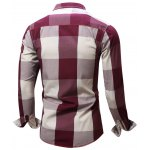 Turn-Down Collar Plaid Pattern Long Sleeve Shirt For Men deal