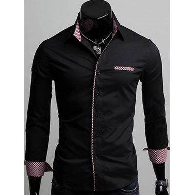 Checked Splicing Long Sleeve Shirt