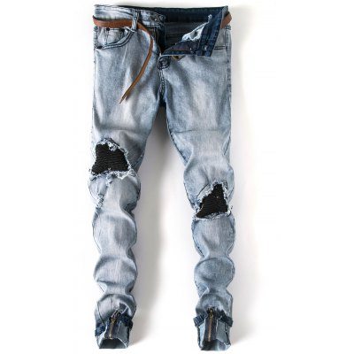 Patch Zipper Embellished Cuffed Jeans