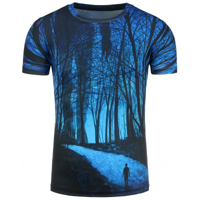 3D Forest Footpath Print Short Sleeve T-Shirt