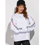 cheap Crew Neck Letter Pattern Sweatshirt