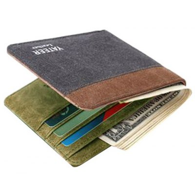 Casual Color Block and Canvas Design Wallet For Men