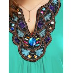 Plus Size Embroidered Rhinestone Embellished Blouse deal