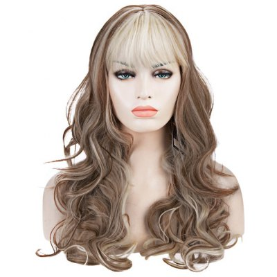 Western Style Kanekalon Side Bang Fluffy Mixed Color Long Deep Wavy Women's Synthetic Wig