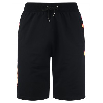 Drawstring Side Fire Graphic Print Sweat ShortsMens Shorts<br>Drawstring Side Fire Graphic Print Sweat Shorts<br><br>Closure Type: Drawstring<br>Fit Type: Regular<br>Front Style: Flat<br>Length: Bermuda<br>Material: Cotton, Polyester<br>Package Contents: 1 x Shorts<br>Style: Fashion<br>Waist Type: Mid<br>Weight: 0.3400kg<br>With Belt: No
