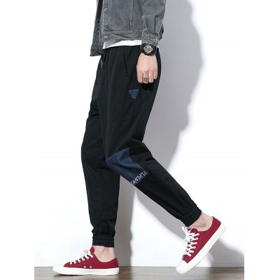 Embroidery Jean Panel Drawstring Jogger PantsMens Pants<br>Embroidery Jean Panel Drawstring Jogger Pants<br><br>Closure Type: Drawstring<br>Fit Type: Regular<br>Front Style: Pleated<br>Material: Cotton, Polyester<br>Package Contents: 1 x Pants<br>Pant Length: Long Pants<br>Pant Style: Jogger Pants<br>Style: Casual<br>Waist Type: Mid<br>Weight: 0.5200kg<br>With Belt: No