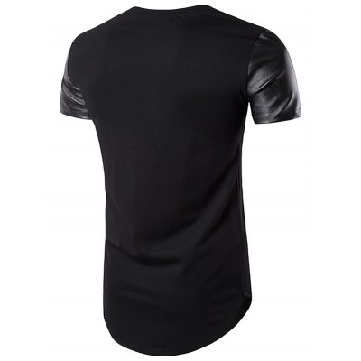 PU Leather Panel Curve Bottom Longline T-ShirtMens Short Sleeve Tees<br>PU Leather Panel Curve Bottom Longline T-Shirt<br><br>Collar: Crew Neck<br>Embellishment: Spliced<br>Material: Cotton, Faux Leather, Polyester<br>Package Contents: 1 x T-Shirt<br>Pattern Type: Solid<br>Sleeve Length: Short<br>Style: Fashion<br>Weight: 0.3000kg