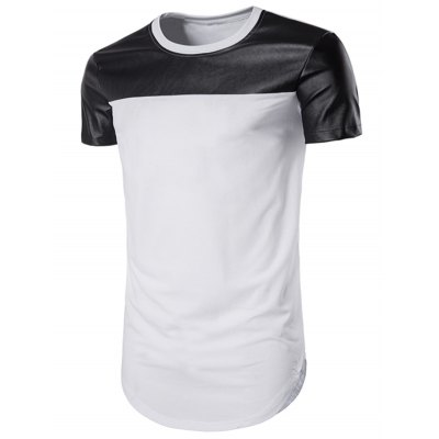PU Leather Panel Curve Bottom Longline T-Shirt