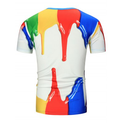 Paint Dripping 3D Print TeeMens Short Sleeve Tees<br>Paint Dripping 3D Print Tee<br><br>Collar: Round Neck<br>Material: Polyester, Spandex<br>Package Contents: 1 x Tee<br>Pattern Type: 3D<br>Sleeve Length: Short<br>Style: Casual<br>Weight: 0.1840kg