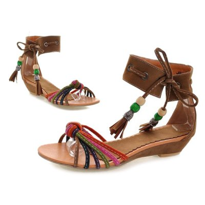 Multicolor Tie Up Tassels SandalsWomens Sandals<br>Multicolor Tie Up Tassels Sandals<br><br>Closure Type: Lace-Up<br>Embellishment: Tassel<br>Gender: For Women<br>Heel Height: 3CM<br>Heel Height Range: Low(0.75-1.5)<br>Heel Type: Wedge Heel<br>Occasion: Casual<br>Package Contents: 1 x Sandals (pair)<br>Pattern Type: Patchwork<br>Sandals Style: Gladiator<br>Shoe Width: Medium(B/M)<br>Style: Leisure<br>Upper Material: Flock<br>Weight: 0.8000kg