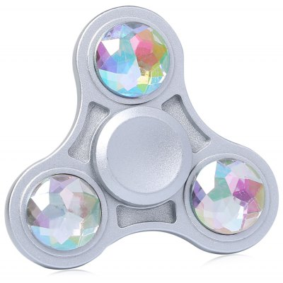 Zinc Alloy Fidget Toy Finger Spinner with Faux Crystal