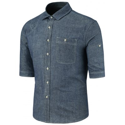 Deep Blue Turndown Collar Half Sleeve Button Pocket Denim