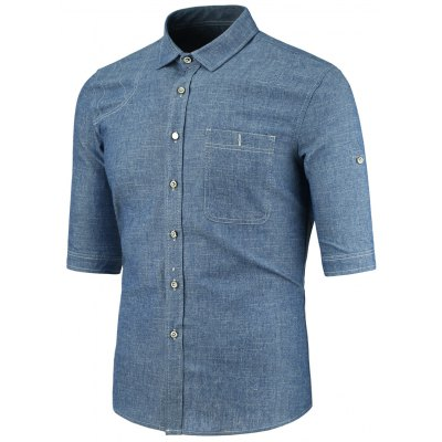 Blue Turndown Collar Half Sleeve Button Pocket Denim Shirt