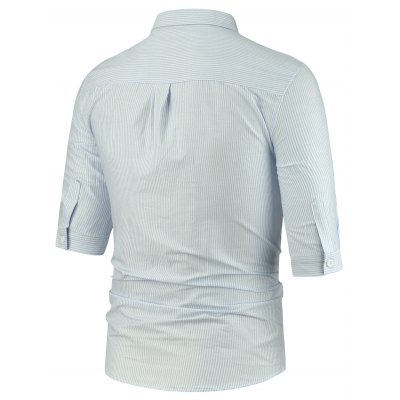 Turndown Collar Half Sleeve Pocket Vertical Stripe ShirtMens Shirts<br>Turndown Collar Half Sleeve Pocket Vertical Stripe Shirt<br><br>Collar: Turn-down Collar<br>Material: Cotton, Polyester<br>Package Contents: 1 x Shirt<br>Pattern Type: Stripe<br>Shirts Type: Casual Shirts<br>Sleeve Length: Half<br>Weight: 0.3300kg