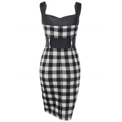 Button Detail Plaid Pencil DressBodycon Dresses<br>Button Detail Plaid Pencil Dress<br><br>Dresses Length: Knee-Length<br>Material: Polyester, Spandex<br>Neckline: Sweetheart Neck<br>Package Contents: 1 x Dress<br>Pattern Type: Plaid<br>Season: Summer<br>Silhouette: Sheath<br>Sleeve Length: Sleeveless<br>Style: Vintage<br>Weight: 0.3900kg<br>With Belt: No