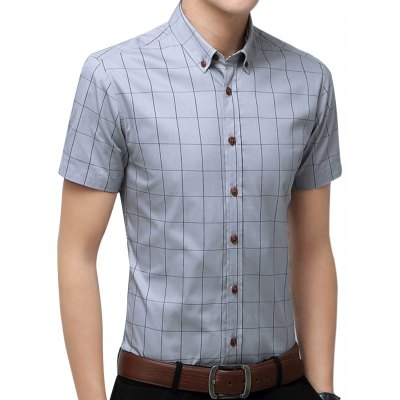 Short Sleeve Checked Casual ShirtMens Shirts<br>Short Sleeve Checked Casual Shirt<br><br>Collar: Turn-down Collar<br>Material: Cotton Blends, Polyester<br>Package Contents: 1 x Shirt<br>Pattern Type: Geometric<br>Shirts Type: Casual Shirts<br>Sleeve Length: Short<br>Weight: 0.3000kg