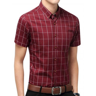 Short Sleeve Checked Casual ShirtMens Shirts<br>Short Sleeve Checked Casual Shirt<br><br>Collar: Turn-down Collar<br>Material: Cotton Blends, Polyester<br>Package Contents: 1 x Shirt<br>Pattern Type: Geometric<br>Shirts Type: Casual Shirts<br>Sleeve Length: Short<br>Weight: 0.2340kg