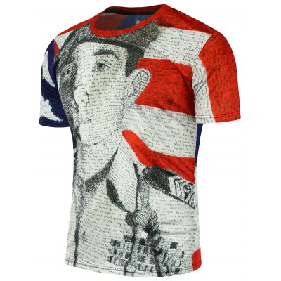 American Flag Soldier Printed Short Sleeve T-Shirt