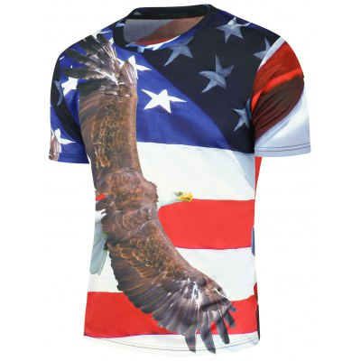 3D Eagle Stars and Stripes Printed T-Shirt
