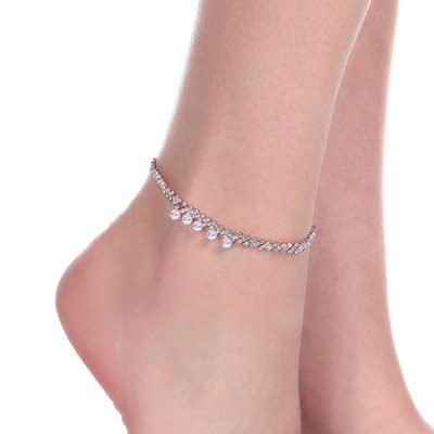 Faux Pearl Rhinestoned Anklet