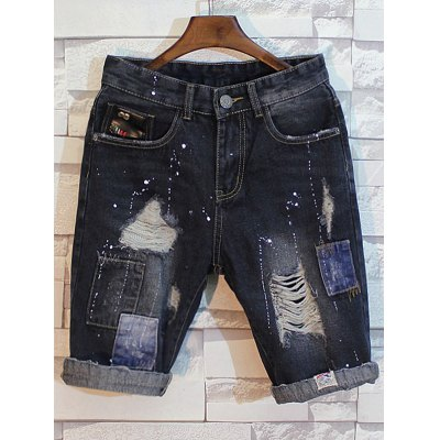 Patch Design Distressed Jean ShortsMens Shorts<br>Patch Design Distressed Jean Shorts<br><br>Closure Type: Zipper Fly<br>Fit Type: Regular<br>Front Style: Flat<br>Length: Short<br>Material: Cotton, Jean<br>Package Contents: 1 x Shorts<br>Style: Casual<br>Waist Type: Mid<br>Weight: 0.5500kg<br>With Belt: No
