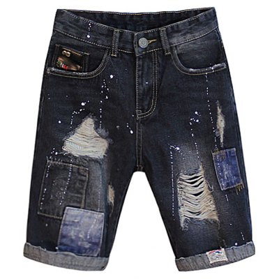 Patch Design Distressed Jean Shorts