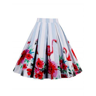 High Waist Animal Floral Print A Line SkirtSkirts<br>High Waist Animal Floral Print A Line Skirt<br><br>Embellishment: Flowers<br>Length: Knee-Length<br>Material: Cotton, Spandex<br>Package Contents: 1 x Skirt<br>Pattern Type: Floral, Print<br>Season: Summer<br>Silhouette: A-Line<br>Weight: 0.3500kg