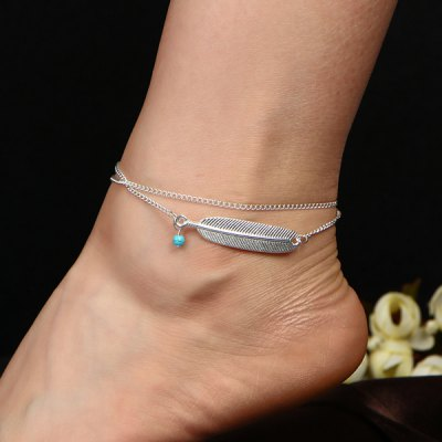 Faux Turquoise Alloy Feather Chain Anklet