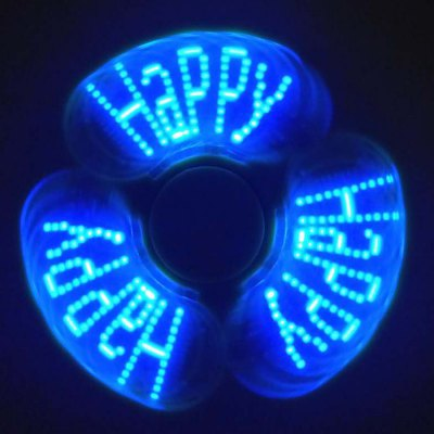 Gearbest Stress Reliever Fidget Spinner with Letters LED Light - GREEN