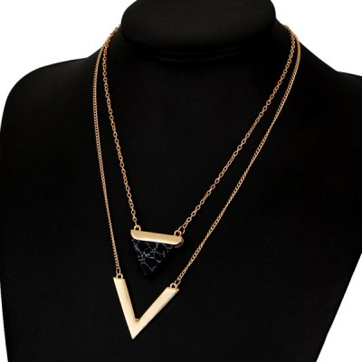 Faux Gemstone Triangle V-Shape Layered NecklaceNecklaces &amp; Pendants<br>Faux Gemstone Triangle V-Shape Layered Necklace<br><br>Gender: For Women<br>Item Type: Pendant Necklace<br>Length: 49CM<br>Necklace Type: Link Chain<br>Package Contents: 1 x Necklace<br>Shape/Pattern: Geometric<br>Style: Trendy<br>Weight: 0.0400kg