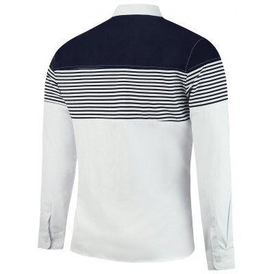 Stripe Panel Color Block Casual ShirtMens Shirts<br>Stripe Panel Color Block Casual Shirt<br><br>Collar: Turn-down Collar<br>Material: Cotton, Polyester<br>Package Contents: 1 x Shirt<br>Pattern Type: Striped<br>Shirts Type: Casual Shirts<br>Sleeve Length: Full<br>Weight: 0.2700kg
