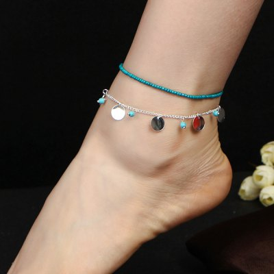 Faux Turquoise Disc Beaded Charm Anklet Set