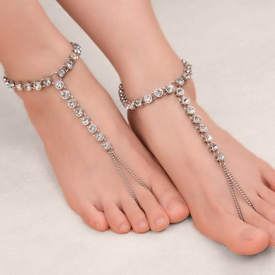 1PC Rhinestone Chain Slave Anklet
