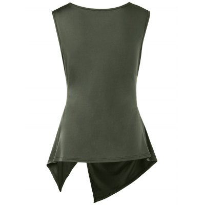 Sleeveless Cowl Neck Asymmetric T-shirtTees<br>Sleeveless Cowl Neck Asymmetric T-shirt<br><br>Collar: Cowl Neck<br>Embellishment: Draped<br>Material: Cotton Blends, Polyester<br>Package Contents: 1 x T-shirt<br>Pattern Type: Solid Color<br>Season: Summer, Spring<br>Shirt Length: Long<br>Sleeve Length: Sleeveless<br>Style: Romantic<br>Weight: 0.2900kg