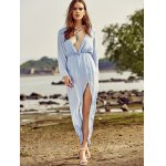cheap Trendy Plunging Neck Back Cut Out High Slit Maxi Dress For Women