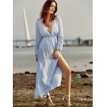 Trendy Plunging Neck Back Cut Out High Slit Maxi Dress For Women for sale