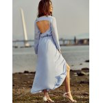 best Trendy Plunging Neck Back Cut Out High Slit Maxi Dress For Women