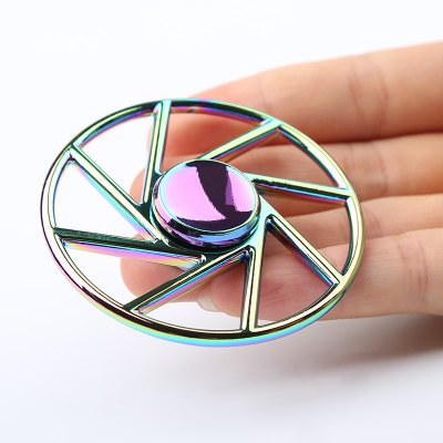 Stress Reliever Wheel Shape Colorful Metal Fidget Spinner