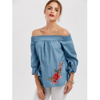 Floral Patchwork Off The Shoulder BlouseBlouses<br>Floral Patchwork Off The Shoulder Blouse<br><br>Collar: Off The Shoulder<br>Embellishment: Embroidery<br>Material: Polyester<br>Package Contents: 1 x Blouse<br>Pattern Type: Patchwork<br>Season: Fall, Spring<br>Shirt Length: Regular<br>Sleeve Length: Three Quarter<br>Style: Casual<br>Weight: 0.2550kg