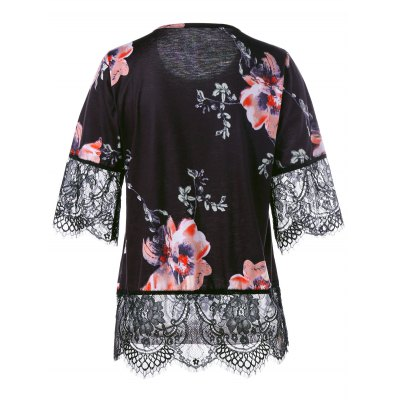 Floral Lace Trim Scalloped Edge T-shirtTees<br>Floral Lace Trim Scalloped Edge T-shirt<br><br>Collar: Round Neck<br>Material: Polyester, Spandex<br>Package Contents: 1 x T-shirt<br>Pattern Type: Floral<br>Season: Summer<br>Shirt Length: Regular<br>Sleeve Length: Short<br>Style: Cute<br>Weight: 0.2900kg