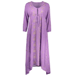 Fashion V-Neck 3/4 Sleeve High Waisted Embroidery Dress For Women deal