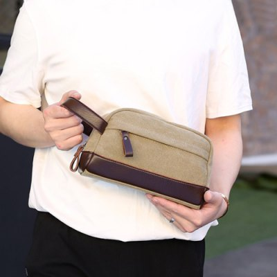 PU Leather Panel Canvas Clutch Baghandbags<br>PU Leather Panel Canvas Clutch Bag<br><br>Closure Type: Zipper<br>Gender: For Men<br>Handbag Size: Small(20-30cm)<br>Height: 13CM<br>Interior: Interior Zipper Pocket<br>Length: 23CM<br>Main Material: Canvas<br>Occasion: Versatile<br>Package Contents: 1 x Clutch Bag<br>Pattern Type: Solid<br>Style: Casual<br>Weight: 0.2320kg<br>Width: 12CM