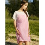 cheap Casual Boat Neck Batwing Sleeve Two-Tone Women's Dress