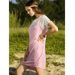 Casual Boat Neck Batwing Sleeve Two-Tone Women's Dress for sale