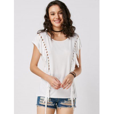 Fringe Mesh Cut Out Tunic TeeTees<br>Fringe Mesh Cut Out Tunic Tee<br><br>Collar: Round Neck<br>Material: Polyester<br>Package Contents: 1 x Tee<br>Pattern Type: Solid<br>Season: Summer, Spring<br>Shirt Length: Long<br>Sleeve Length: Short<br>Style: Fashion<br>Weight: 0.2250kg
