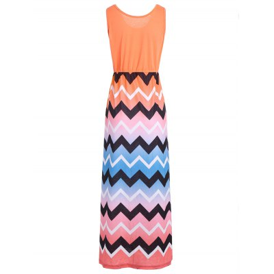 Sleeveless Maxi Dress with Ombre Zigzag PrintMaxi Dresses<br>Sleeveless Maxi Dress with Ombre Zigzag Print<br><br>Dress Type: Swing Dress<br>Dresses Length: Floor-Length<br>Elasticity: Elastic<br>Material: Spandex, Polyester<br>Neckline: Scoop Neck<br>Package Contents: 1 x Dress<br>Pattern Type: Chevron/Zig Zag<br>Season: Summer<br>Silhouette: Beach<br>Sleeve Length: Sleeveless<br>Style: Casual<br>Weight: 0.3600kg<br>With Belt: No